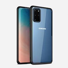 Samsung Galaxy S20 Plus用ハイブリットバンパーケース クリア透明 プラスチック 鏡面 カバー H02 サムスン ブラック