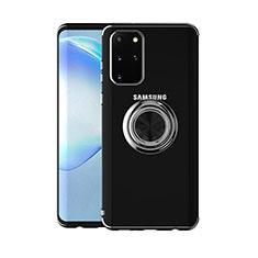 Samsung Galaxy S20 Plus用極薄ソフトケース シリコンケース 耐衝撃 全面保護 クリア透明 アンド指輪 マグネット式 C01 サムスン ブラック