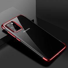 Samsung Galaxy S20 Plus用極薄ソフトケース シリコンケース 耐衝撃 全面保護 クリア透明 S01 サムスン レッド