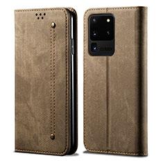 Samsung Galaxy S20 Ultra 5G用手帳型 布 スタンド サムスン ブラウン