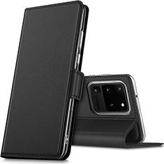 Samsung Galaxy S20 Ultra 5G用手帳型 レザーケース スタンド カバー L02 サムスン ブラック