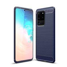 Samsung Galaxy S20 Ultra 5G用シリコンケース ソフトタッチラバー ライン カバー S02 サムスン ネイビー