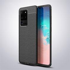 Samsung Galaxy S20 Ultra 5G用シリコンケース ソフトタッチラバー レザー柄 カバー サムスン ブラック