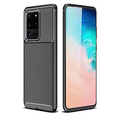 Samsung Galaxy S20 Ultra 5G用シリコンケース ソフトタッチラバー ツイル カバー S02 サムスン ブラック