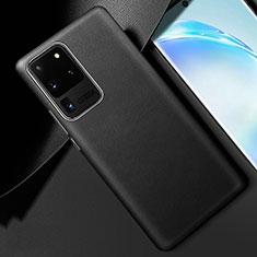 Samsung Galaxy S20 Ultra 5G用ケース 高級感 手触り良いレザー柄 R01 サムスン ブラック