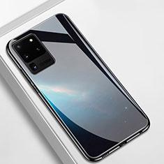 Samsung Galaxy S20 Ultra 5G用ハイブリットバンパーケース プラスチック 鏡面 カバー T02 サムスン ブラック