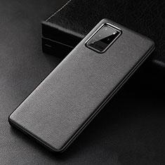 Samsung Galaxy S20 Ultra 5G用ケース 高級感 手触り良いレザー柄 R02 サムスン ブラック