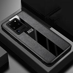 Samsung Galaxy S20 Ultra 5G用シリコンケース ソフトタッチラバー レザー柄 カバー H02 サムスン ブラック