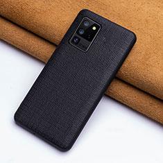 Samsung Galaxy S20 Ultra 5G用ケース 高級感 手触り良いレザー柄 R03 サムスン ブラック