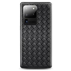 Samsung Galaxy S20 Ultra 5G用シリコンケース ソフトタッチラバー レザー柄 カバー H05 サムスン ブラック