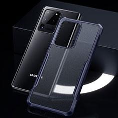Samsung Galaxy S20 Ultra 5G用ハイブリットバンパーケース クリア透明 プラスチック 鏡面 カバー H01 サムスン ネイビー