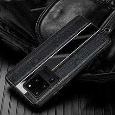 Samsung Galaxy S20 Ultra 5G用シリコンケース ソフトタッチラバー レザー柄 カバー H04 サムスン ブラック