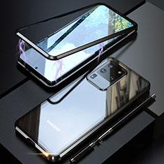Samsung Galaxy S20 Ultra 5G用ケース 高級感 手触り良い アルミメタル 製の金属製 360度 フルカバーバンパー 鏡面 カバー T01 サムスン ブラック