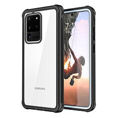 Samsung Galaxy S20 Ultra 5G用360度 フルカバーハイブリットバンパーケース クリア透明 プラスチック 鏡面 サムスン ブラック
