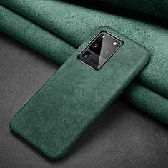 Samsung Galaxy S20 Ultra用手帳型 レザーケース スタンド カバー C02 サムスン グリーン