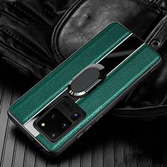Samsung Galaxy S20 Ultra用シリコンケース ソフトタッチラバー レザー柄 アンド指輪 マグネット式 T04 サムスン グリーン