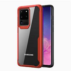 Samsung Galaxy S20 Ultra用ハイブリットバンパーケース クリア透明 プラスチック 鏡面 カバー H02 サムスン レッド