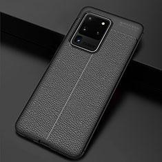 Samsung Galaxy S20 Ultra用シリコンケース ソフトタッチラバー レザー柄 カバー H06 サムスン ブラック