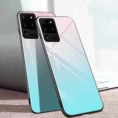 Samsung Galaxy S20 Ultra用ハイブリットバンパーケース プラスチック 鏡面 カバー T01 サムスン シアン