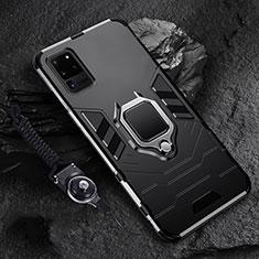Samsung Galaxy S20 Ultra用ハイブリットバンパーケース プラスチック アンド指輪 マグネット式 R02 サムスン ブラック
