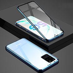 Samsung Galaxy S20 Ultra用ケース 高級感 手触り良い アルミメタル 製の金属製 360度 フルカバーバンパー 鏡面 カバー T02 サムスン ネイビー