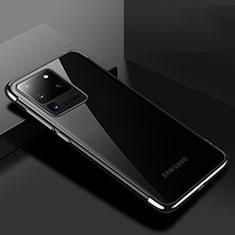 Samsung Galaxy S20 Ultra用極薄ソフトケース シリコンケース 耐衝撃 全面保護 クリア透明 S01 サムスン ブラック