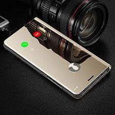 Samsung Galaxy S21 5G用手帳型 レザーケース スタンド 鏡面 カバー L01 サムスン ゴールド