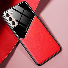 Samsung Galaxy S21 5G用シリコンケース ソフトタッチラバー レザー柄 カバー S01 サムスン レッド