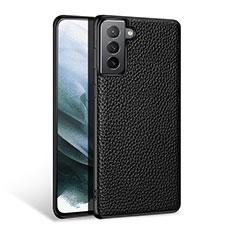 Samsung Galaxy S21 5G用ケース 高級感 手触り良いレザー柄 S03 サムスン ブラック