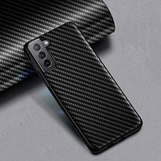 Samsung Galaxy S21 5G用シリコンケース ソフトタッチラバー ツイル サムスン ブラック