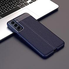Samsung Galaxy S21 5G用シリコンケース ソフトタッチラバー レザー柄 カバー サムスン ミッドナイトネイビー