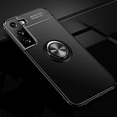 Samsung Galaxy S21 5G用極薄ソフトケース シリコンケース 耐衝撃 全面保護 アンド指輪 マグネット式 バンパー サムスン ブラック