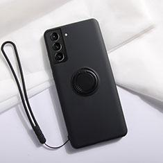 Samsung Galaxy S21 5G用極薄ソフトケース シリコンケース 耐衝撃 全面保護 アンド指輪 マグネット式 バンパー A01 サムスン ブラック