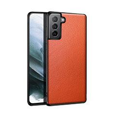 Samsung Galaxy S21 5G用ケース 高級感 手触り良いレザー柄 S01 サムスン オレンジ