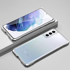 Samsung Galaxy S21 5G用ケース 高級感 手触り良い アルミメタル 製の金属製 バンパー カバー サムスン シルバー