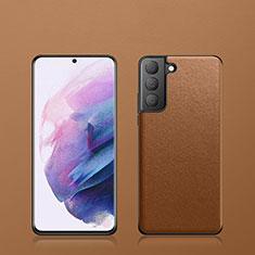 Samsung Galaxy S21 5G用ケース 高級感 手触り良いレザー柄 S02 サムスン ブラウン