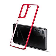 Samsung Galaxy S21 5G用極薄ソフトケース シリコンケース 耐衝撃 全面保護 クリア透明 H01 サムスン レッド