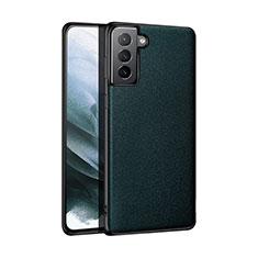 Samsung Galaxy S21 Plus 5G用ケース 高級感 手触り良いレザー柄 S01 サムスン モスグリー