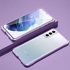 Samsung Galaxy S21 Plus 5G用ケース 高級感 手触り良い アルミメタル 製の金属製 バンパー カバー サムスン ラベンダー