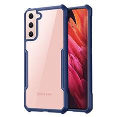 Samsung Galaxy S21 Plus 5G用ハイブリットバンパーケース クリア透明 プラスチック 鏡面 カバー サムスン ネイビー