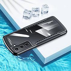Samsung Galaxy S21 Plus 5G用360度 フルカバーハイブリットバンパーケース クリア透明 プラスチック 鏡面 サムスン ブラック