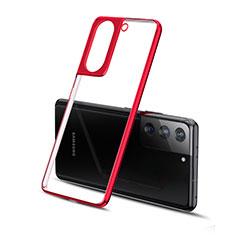 Samsung Galaxy S21 Plus 5G用極薄ソフトケース シリコンケース 耐衝撃 全面保護 クリア透明 H01 サムスン レッド
