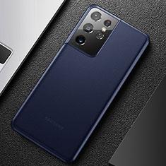 Samsung Galaxy S21 Ultra 5G用極薄ケース クリア透明 プラスチック 質感もマットU01 サムスン ネイビー