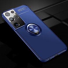 Samsung Galaxy S21 Ultra 5G用極薄ソフトケース シリコンケース 耐衝撃 全面保護 アンド指輪 マグネット式 バンパー サムスン ネイビー