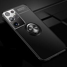 Samsung Galaxy S21 Ultra 5G用極薄ソフトケース シリコンケース 耐衝撃 全面保護 アンド指輪 マグネット式 バンパー サムスン ブラック