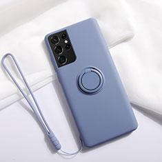 Samsung Galaxy S21 Ultra 5G用極薄ソフトケース シリコンケース 耐衝撃 全面保護 アンド指輪 マグネット式 バンパー A01 サムスン ラベンダーグレー