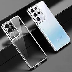 Samsung Galaxy S21 Ultra 5G用極薄ソフトケース シリコンケース 耐衝撃 全面保護 クリア透明 H02 サムスン シルバー