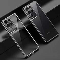 Samsung Galaxy S21 Ultra 5G用極薄ソフトケース シリコンケース 耐衝撃 全面保護 クリア透明 H02 サムスン ブラック