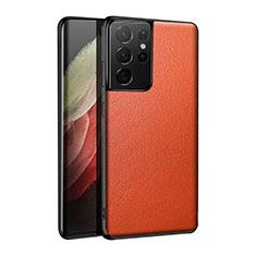Samsung Galaxy S21 Ultra 5G用ケース 高級感 手触り良いレザー柄 S01 サムスン オレンジ