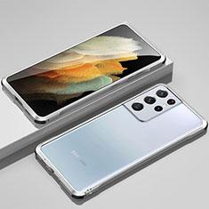 Samsung Galaxy S21 Ultra 5G用ケース 高級感 手触り良い アルミメタル 製の金属製 バンパー カバー サムスン シルバー